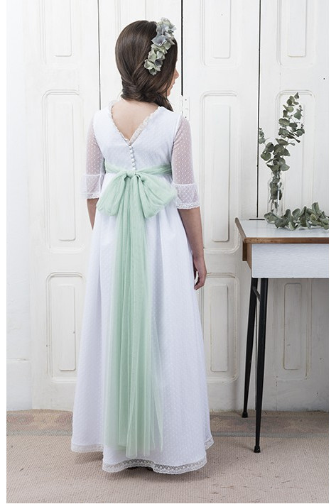 Communion Dress Antia White Aquamarine