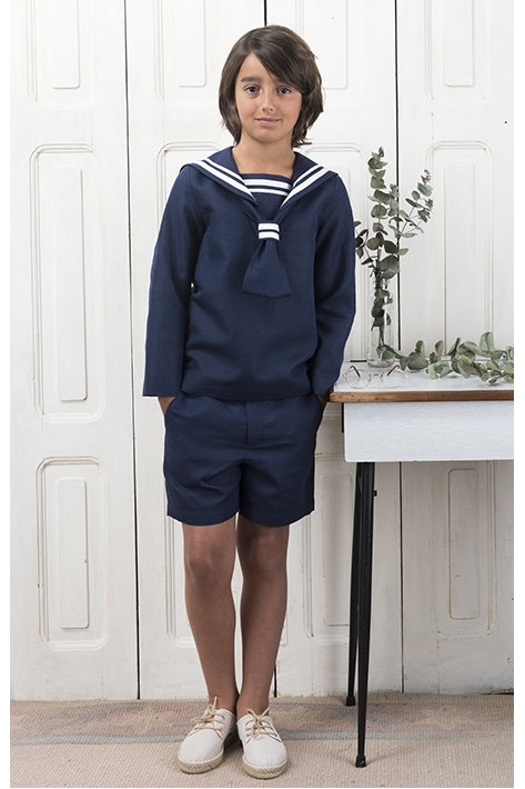 SHORT BLUE SAILOR COMMUNION SUIT
