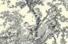Grey Toile De Jouy Thin Canvas